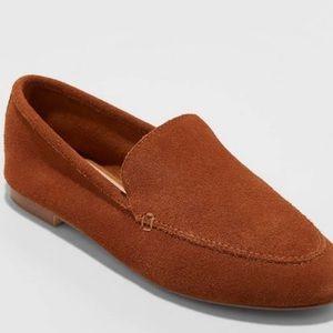 Mila Microsuede Cognac Deconstructed Loafers Sz 9